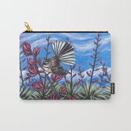 Fantail in the Harakeke Carry-All Pouch