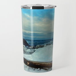 Spring Comes to the Beach in Ice that glows Blue Travel Mug