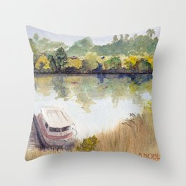 Autumn on the Delta: Houseboat on the Sacramento River, Walnut Creek, California Throw Pillow