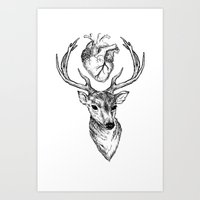 cargline Art Prints featuring Hipster Deer by cargline