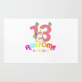 Awesome Since 2005 Unicorn 13th Birthday Anniversaries Rug