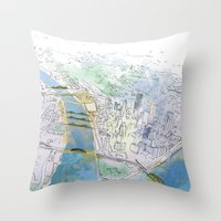 pittsburgh Throw Pillows featuring Pittsburgh by Jen Joyce