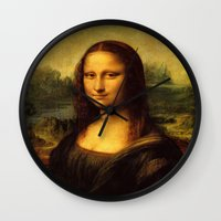 mona lisa Wall Clocks featuring Mona Lisa by steinhauer studio