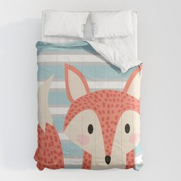 Cute fox illustration with stripes blue white and orange Comforters