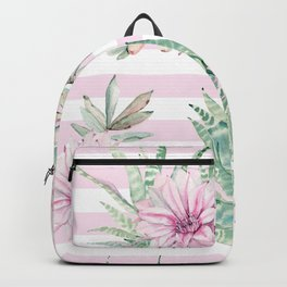Rose Stripe Succulents - Pink and Mint Green Cactus Pattern Backpack