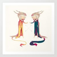 twins Art Prints featuring twins by yohan sacre