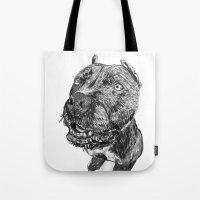 hercules Tote Bags featuring hercules 1 by Jenn Steffey