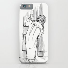 Child peeking through the door from Verses For Grannies Suggested By The Children illustrated by Dor iPhone Case