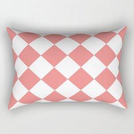 Large Diamonds - White and Coral Pink Rectangular Pillow