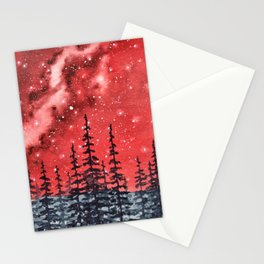 """""""Red Milky Way"""" Galaxy watercolor illustration Stationery Cards"""