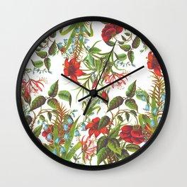 Ruby & Cerulean Floral Wall Clock