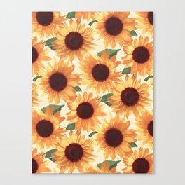 Happy Orange Sunflowers Canvas Print