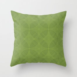 Radio Waves in Green on Green Throw Pillow