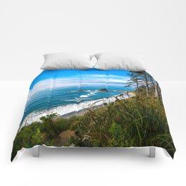 Pacific View - Coastal Scenery in Washington State Comforters