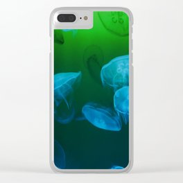 Moon Jellyfish - Blue and Green Clear iPhone Case