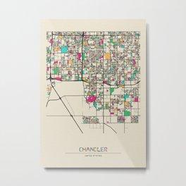 Colorful City Maps: Chandler, Arizona Metal Print