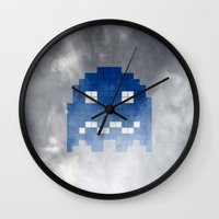 pac man Wall Clocks featuring Pac-Man Blue Ghost by Psocy Shop