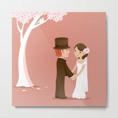 Wedding Under A Pink Tree Metal Print