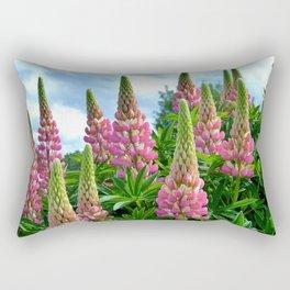 Rose Lupins in the Garden Rectangular Pillow
