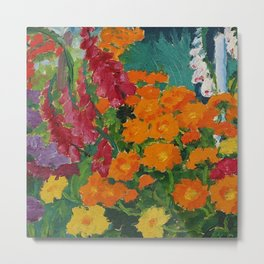 Floral Garden - Summer Marigolds & Bellflowers Still Life Painting by Emil Nolde Metal Print