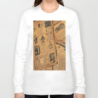 newspaper Long Sleeve T-shirts featuring old newspaper by Marianna Burk