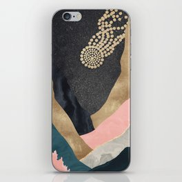 Falling Star // Abstract Mountain Canyon Landscape Digital Art Gold Pink Blue Black Grey Marble Sun iPhone Skin