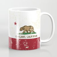 oakland Mugs featuring Oakland California Republic Flag Distressed  by NorCal