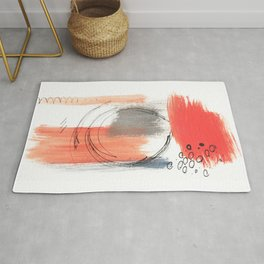 Comfort Zone - A minimalistic india ink and acrylic abstract piece in pink, black, gray, and blue Rug