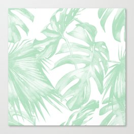 Light Green Tropical Palm Leaves Print Canvas Print