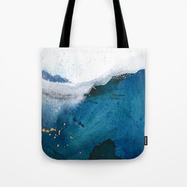 In the Surf: a vibrant minimal abstract painting in blues and gold Tote Bag