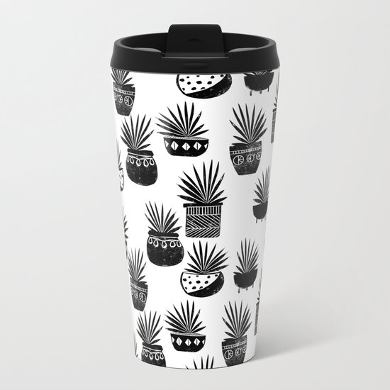 houseplant linocut aloe vera art botanical black and white lino printmaking art minimal modern Metal Travel Mug