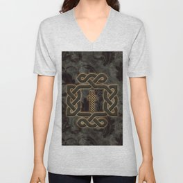 Decorative celtic knot, vintage design Unisex V-Neck