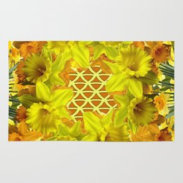 GOLDEN YELLOW SPRING DAFFODILS PATTERN GARDEN Rug