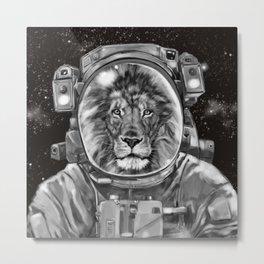 Astronaut Lion Selfie Metal Print