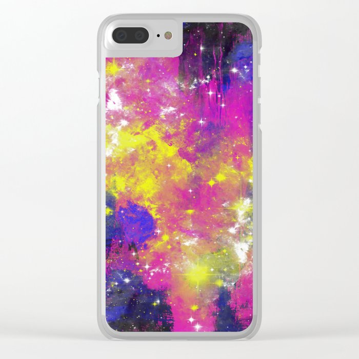 Journey Through Space - Abstract purple and blue, space themed artwork Clear iPhone Case