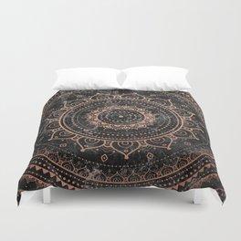 Mandala - rose gold and black marble Duvet Cover