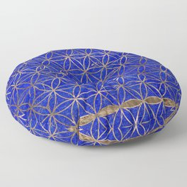 Flower of life pattern - Lapis Lazuli and Gold Floor Pillow
