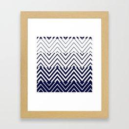 Chevron Ombre Stencil | navy white Framed Art Print