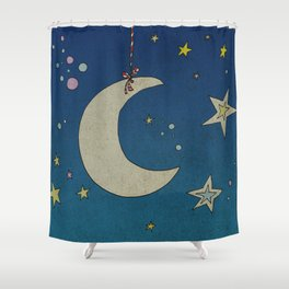 Moon Hanging Shower Curtain