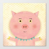 pooh Canvas Prints featuring Piggy Pooh by Silva Ware by Walter Silva