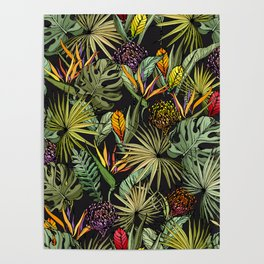 Tropical pattern on black Poster