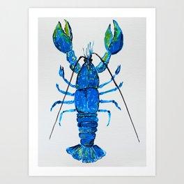 Blue Lobster Wall Art, Lobster Bathroom Decor, Lobster Crustacean Marine Biology Art Print