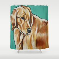 golden retriever Shower Curtains featuring Golden Retriever Painting by Cheney Beshara