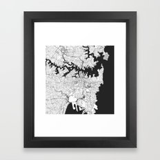 Sydney City Map Gray Framed Art Print