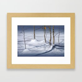 Winter Snow and the Last Autumn Orange Leaves in the in the Upper Peninsula of Michigan No.0521 A Fi Framed Art Print