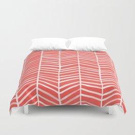 Coral Herringbone Duvet Cover