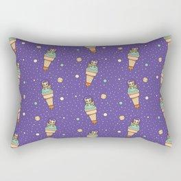 Kawaii Corgi Dog on an Ice Cream Rocket in Space Rectangular Pillow