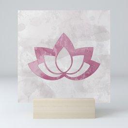 Pink Lotus Flower on Gray Mini Art Print