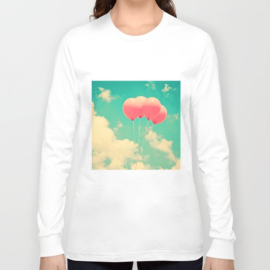 Balloons in the sky (pink ballons in retro blue sky) Long Sleeve T-shirt