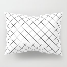 Abstract Diamond Grid Lines White and Black 12 Pillow Sham